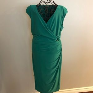 EUC Lauren Ralph Lauren Green wrap dress sz 10